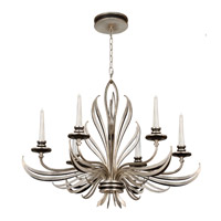 Villandry Silver 6 Light 36 inch Antique Silver Leaf w/ Black Chandelier Ceiling Light