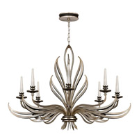 Fine Art Lamps Villandry 8 Light Chandelier in Antique Silver Leaf w/ Black 817240ST