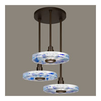 Fine Art Lamps Crystal Bakehouse 3 Light Pendant in Bronze with Polished Block of Cobalt & Aqua Crystal Shards 823640-12ST