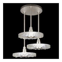 Fine Art Lamps Crystal Bakehouse 3 Light Pendant in Silver Leaf with Polished Block of Crystal River Stones 823640-34ST