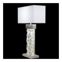Fine Art Lamps Crystal Bakehouse 2 Light Table Lamp in Silver Leaf with Polished Block of Crystal River Stones 824610-34ST