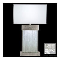 Fine Art Lamps Crystal Bakehouse 2 Light Table Lamp in Silver Leaf with Polished Block of Crystal River Stones 824810-34ST