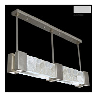 Fine Art Lamps Crystal Bakehouse 6 Light Pendant in Silver with Polished Block of Crystal River Stones 825040-24ST
