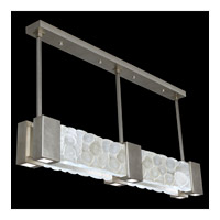 Fine Art Lamps Crystal Bakehouse 6 Light Pendant in Silver Leaf with Polished Block of Crystal River Stones 825040-34ST
