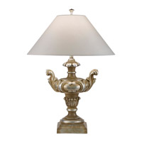 Recollections 31 inch 150 watt Antiqued Gold-Stained Silver Leaf Table Lamp Portable Light