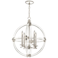 Fine Art Lamps Grosvenor Square 4 Light Pendant in Nickel Plated Solid Brass 845840ST