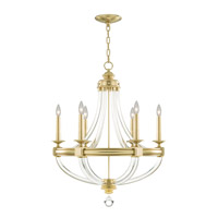 Grosvenor Square 6 Light 29 inch Antique Hand Rubbed Solid Brass Chandelier Ceiling Light