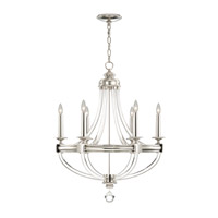 Grosvenor Square 6 Light 29 inch Nickel Plated Solid Brass Chandelier Ceiling Light