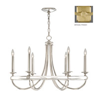 Grosvenor Square 6 Light 34 inch Antique Hand Rubbed Solid Brass Chandelier Ceiling Light