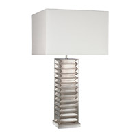Recollections 26 inch 150 watt Platinized Silver Leaf Table Lamp Portable Light