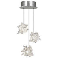 Fine Art Lamps Natural Inspirations 3 Light Pendant in Platinized Silver Leaf 852340-102ST