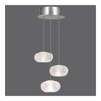 Fine Art Lamps Natural Inspirations 3 Light Drop Light in Platinized Silver Leaf 852340-12ST