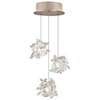 Natural Inspirations 3 Light 9 inch Gold Toned Silver Leaf Pendant Ceiling Light