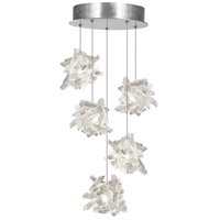 Fine Art Lamps Natural Inspirations 5 Light Pendant in Platinized Silver Leaf 852440-102ST