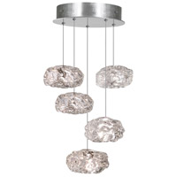 Fine Art Lamps Natural Inspirations 5 Light Drop Light in Platinized Silver Leaf 852440-11ST