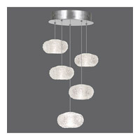 Fine Art Lamps Natural Inspirations 5 Light Drop Light in Platinized Silver Leaf 852440-12ST