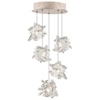 Natural Inspirations 5 Light 12 inch Gold Toned Silver Leaf Pendant Ceiling Light