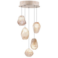 Fine Art Lamps Natural Inspirations 5 Light Drop Light in Gold-Toned Silver Leaf 852440-24ST