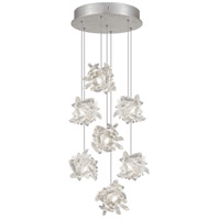 Fine Art Lamps Natural Inspirations 7 Light Pendant in Platinized Silver Leaf 852640-102ST
