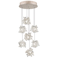 Natural Inspirations 7 Light 14 inch Gold Toned Silver Leaf Pendant Ceiling Light