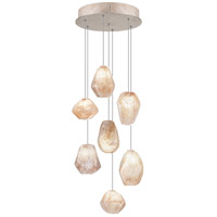 Fine Art Lamps Natural Inspirations 7 Light Drop Light in Gold-Toned Silver Leaf 852640-24ST