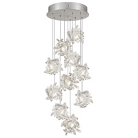 Fine Art Lamps Natural Inspirations 10 Light Pendant in Platinized Silver Leaf 852840-102ST
