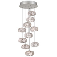 Fine Art Lamps Natural Inspirations 10 Light Drop Light in Platinized Silver Leaf 852840-11ST