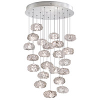 Fine Art Lamps 853240-11ST Natural Inspirations 22 Light 24 inch Platinized Silver Leaf Drop Light Ceiling Light
