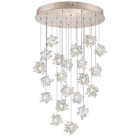 Natural Inspirations 22 Light 24 inch Gold Toned Silver Leaf Pendant Ceiling Light