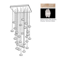 Natural Inspirations 30 Light 30 inch Gold Toned Silver Leaf Pendant Ceiling Light