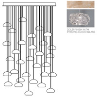Natural Inspirations 30 Light 30 inch Gold-Toned Silver Leaf Drop Light Ceiling Light