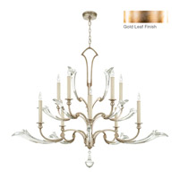 Ice Sculpture 10 Light 56 inch Gold Leaf Chandelier Ceiling Light