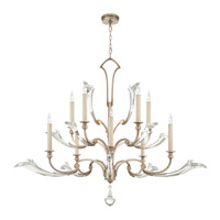 Ice Sculpture 10 Light 56 inch Warm-Toned Silver Leaf Chandelier Ceiling Light