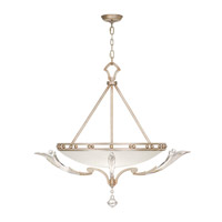 Ice Sculpture 3 Light 36 inch Warm-Toned Silver Leaf Pendant Ceiling Light