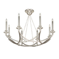 Liaison 8 Light 44 inch Platinized Silver Leaf Pendant Ceiling Light