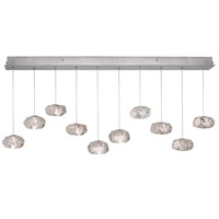 Fine Art Lamps Natural Inspirations 10 Light Drop Light in Platinized Silver Leaf 863240-11ST
