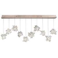 Natural Inspirations 10 Light 11 inch Gold Toned Silver Leaf Pendant Ceiling Light