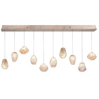 Fine Art Lamps Natural Inspirations 10 Light Drop Light in Gold-Toned Silver Leaf 863240-24ST