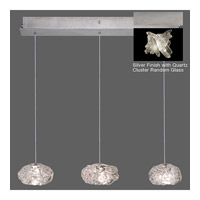 Fine Art Lamps Natural Inspirations 3 Light Pendant in Platinized Silver Leaf 863440-102ST