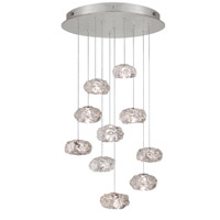 Fine Art Lamps Natural Inspirations 10 Light Drop Light in Platinized Silver Leaf 863540-11ST