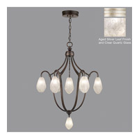 Fine Art Lamps Quartz and Iron 8 Light Pendant in Aged Silver Leaf 864740-11ST