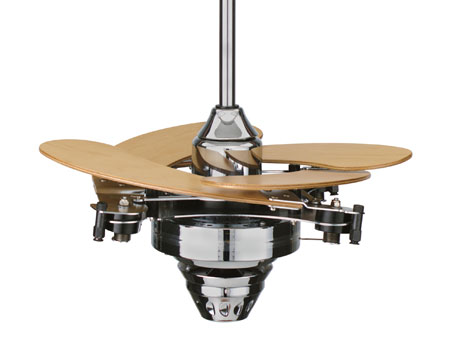 Fanimation Air Shadow Mechanical Indoor Ceiling Fan in Chrome with Maple Blades FP820CH photo
