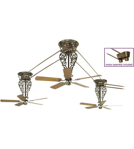 Fanimation FP580AB-18-L3 Bourbon Street Antique Brass with Oak/Walnut Blades Ceiling Fan, Motor Only photo
