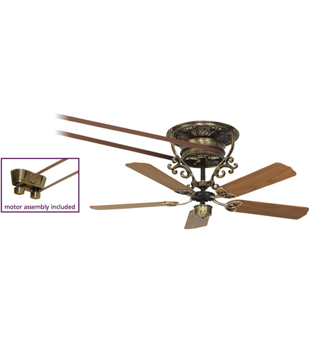 Fanimation FP580AB-18-S1 Bourbon Antique Brass with Oak/Walnut (sold separately) Blades Ceiling Fan, Motor Only photo