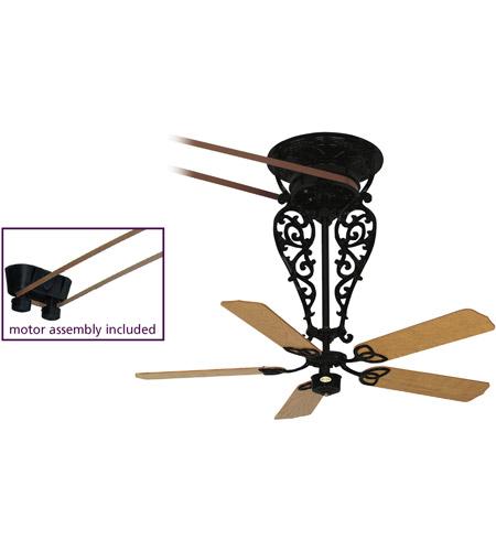 Fanimation FP580BL-18-L1 Bourbon Black with Oak/Walnut (sold separately) Blades Ceiling Fan, Motor Only photo