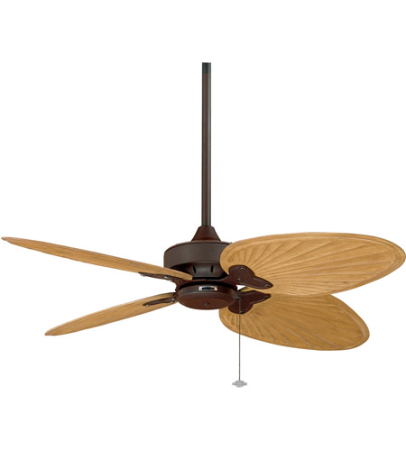 Fanimation Windpointe Indoor Ceiling Fan in Rust with Sambel Sand Carved Wood Blades FP7400RS photo