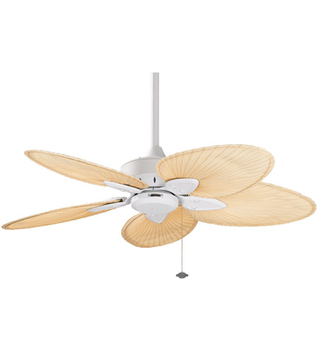 Fanimation Windpointe Indoor Ceiling Fan in Matte White with Narrow Oval Natural Palm Blades FP7500MW photo
