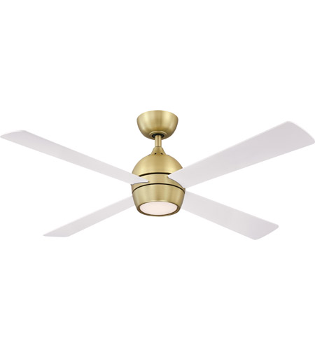 Fanimation FP7652BS Kwad 52 52 inch Brushed Satin Brass with Matte White Blades Indoor/Outdoor Ceiling Fan photo