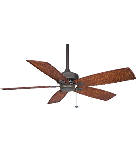 Fanimation Cancun Indoor Ceiling Fan in Oil-Rubbed Bronze with Dark Brown/Red Tight Weave Blades 220v FP8009OB-220 photo