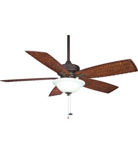 Fanimation Cancun Indoor Ceiling Fan in Oil-Rubbed Bronze with Dark Brown/Red Tight Weave Blades FP8011OB photo